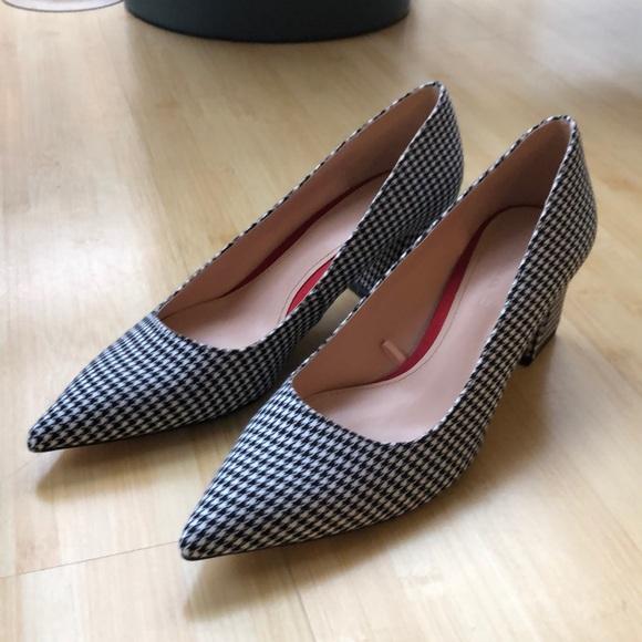 0cd4ea30288 Black White Gingham Checkered Square Heel Pumps
